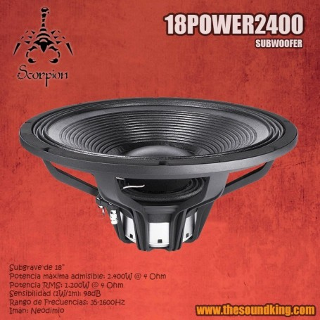 Woofer Scorpion Audio 18Power2400
