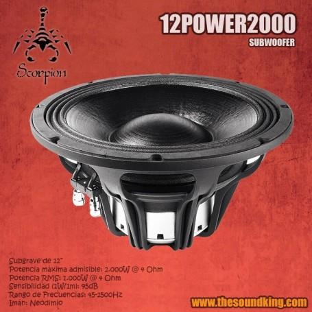 Woofer Scorpion Audio 12Power2000